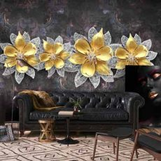 خرید پوستر دیواری طرح گل نقره طلا