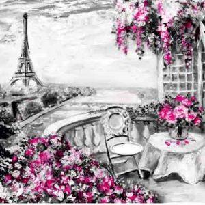 پوستر دیواری طرح گل و برج ایفل