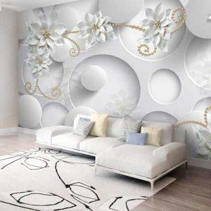 پوستر طرح گل سفید ریز